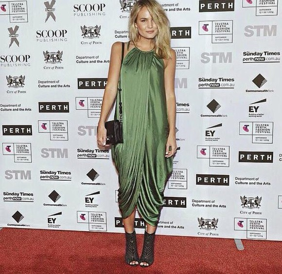 wrap style silk hot drape perth fashion festival dark green