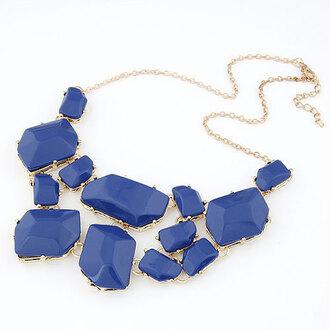 jewels bib necklaces bubble bib resin necklace resin necklace navy blue necklace statement necklace statement fashion necklace fashion accessory necklace