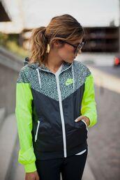jacket,neon,windbreaker,coat,nike,nike windbreaker