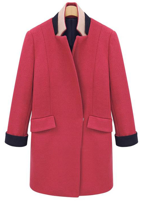 Rose Red Contrast Band Collar H-line Boyfriend Wool Coat - Sheinside.com