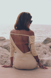 dress,open back,maxi dress,bodycon dress,cream dress,beach,summer dress,summer,blouse,beige,t-shirt,top,tan,sunglasses,nude pretty sexy classy,pink,long open back dress,cute,short dress,light pink dress,backless,backless dress,long sleeves,style,peach dress,backless prom dress,beige dress