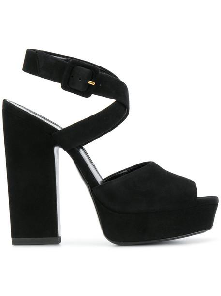 Saint Laurent women sandals leather black shoes