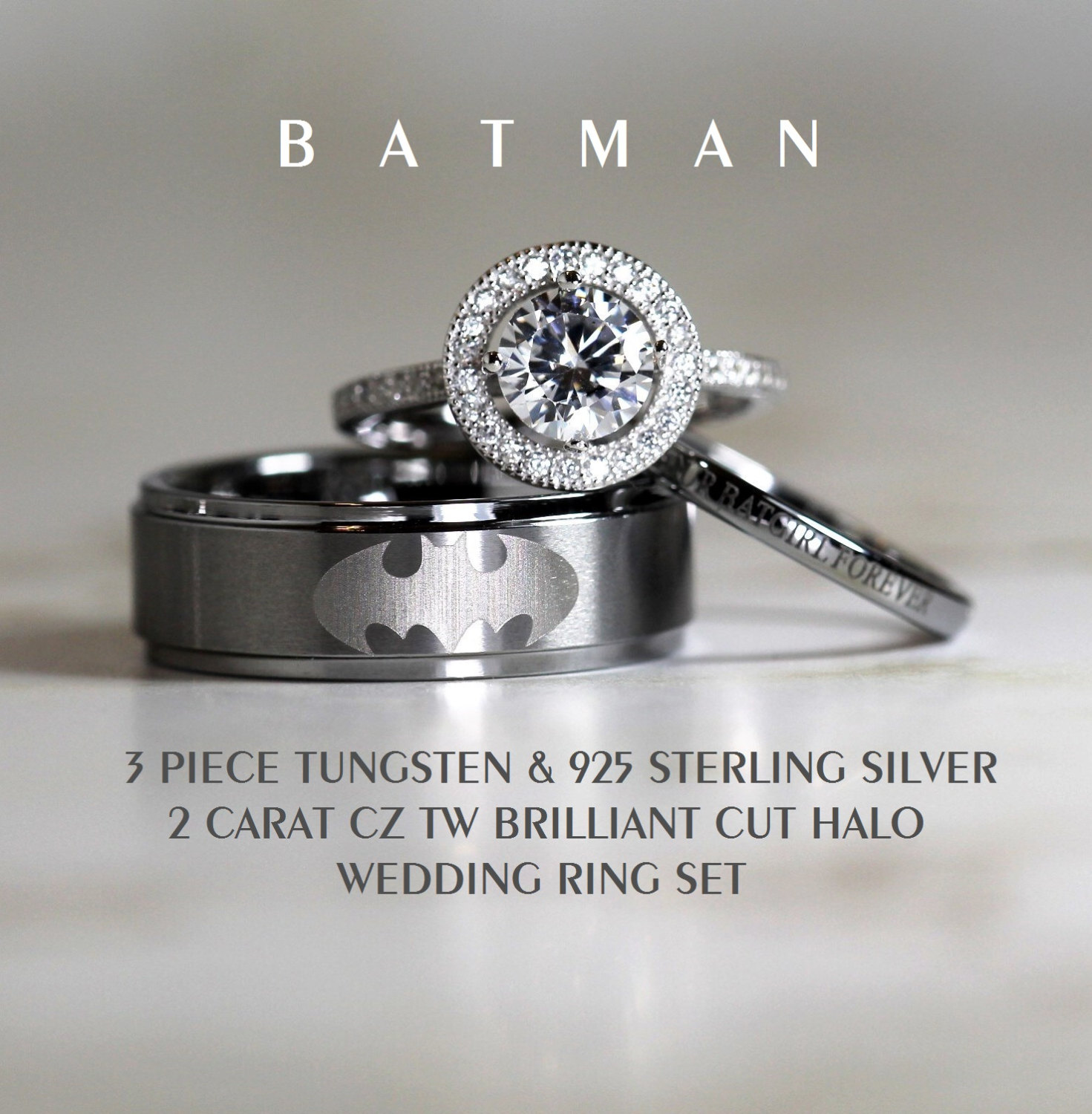 Batman Tungsten And 925 Sterling Silver 2 Carat Cz Wedding