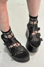 socks,black,stripey,transparent,buckles,straps,platform shoes,flatforms,shoes