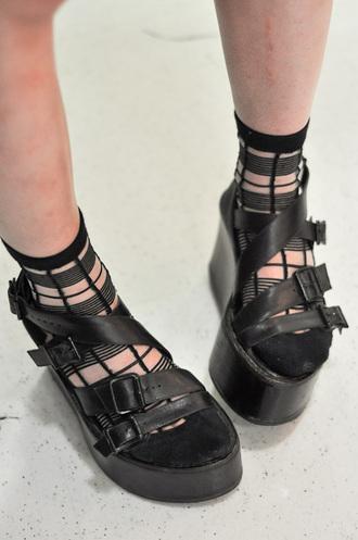 socks black stripey transparent buckles straps platform shoes flatforms shoes
