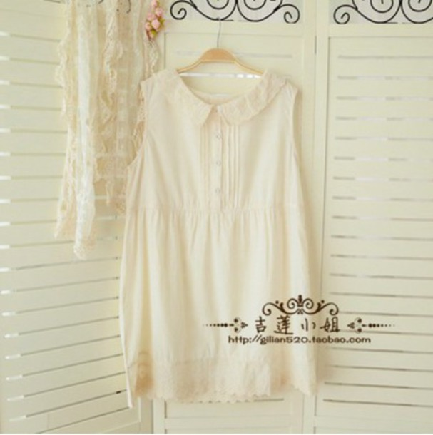 dress white lace pretty shift loose