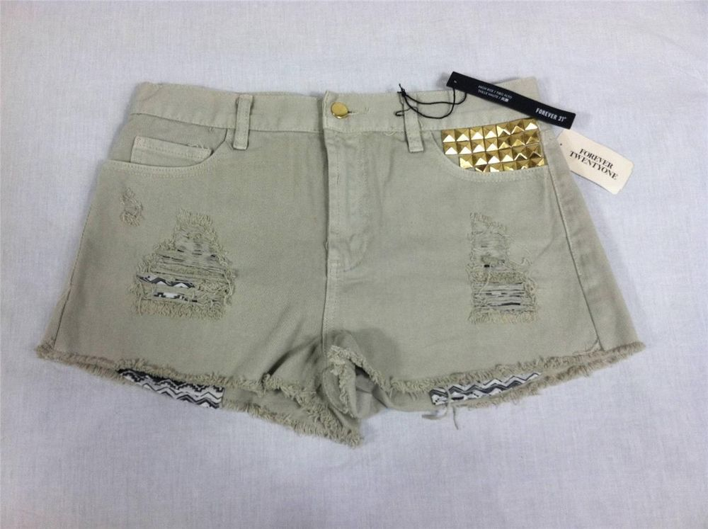 Forever 21 Beige Denim Jean Shorts Gold Studs Distressed 28 RG | eBay