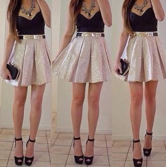 skirt gold glitter golden skirt skater skirt belt jewels bag shirt light rosé mini skirt high waisted shoes dress