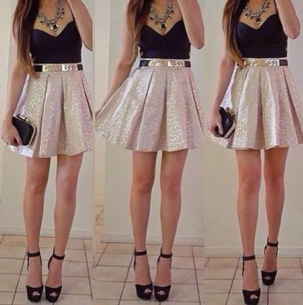 fa286bccbc dress gold black and gold dress jewels shoes skirt glitter golden skirt  skater skirt belt bag