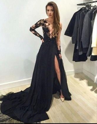 dress black lace long prom
