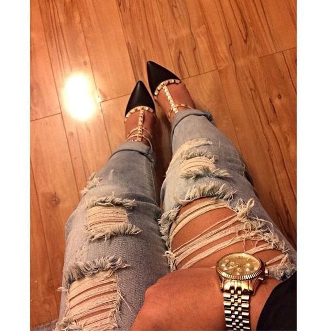 louis vuitton shoes jeans heels shine denim cute gold style roll up