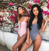 swimwear,bandeau swimsuit,one piece swimsuit,pink swimwear,lace up,gingham,necklace,silver necklace,accessories,summer,summer holidays,gingham swimsuit