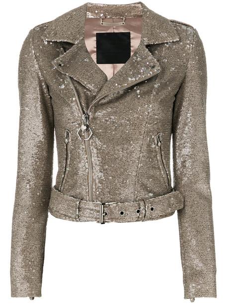 PHILIPP PLEIN jacket biker jacket glitter women spandex nude