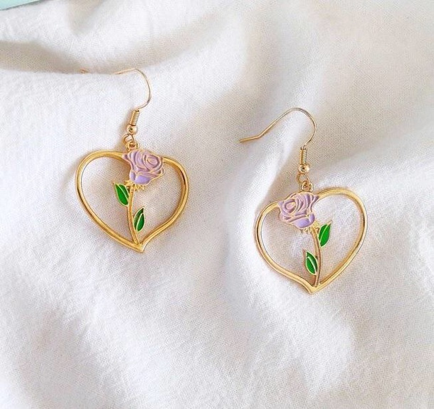 jewels girly earrings gold flowers rose pink heart