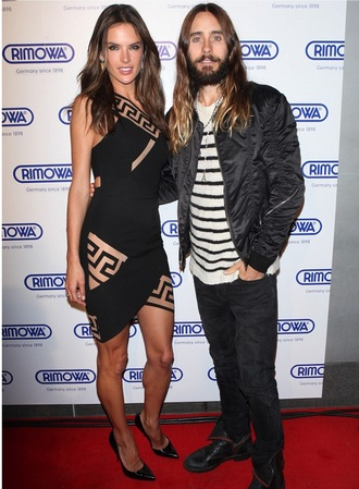 alessandra ambrosio jared leto model gorgeous black dress dress
