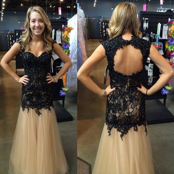 dress black lace formal open back elegant beautiful trendy gown fancy vanessawu