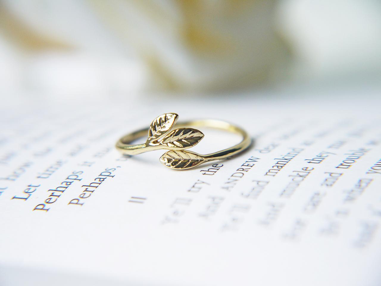 Gold Leaves Adjustable Ring Olive Leaves Dainty Modern Feminine Symbolises Peace Prosperity on Luulla