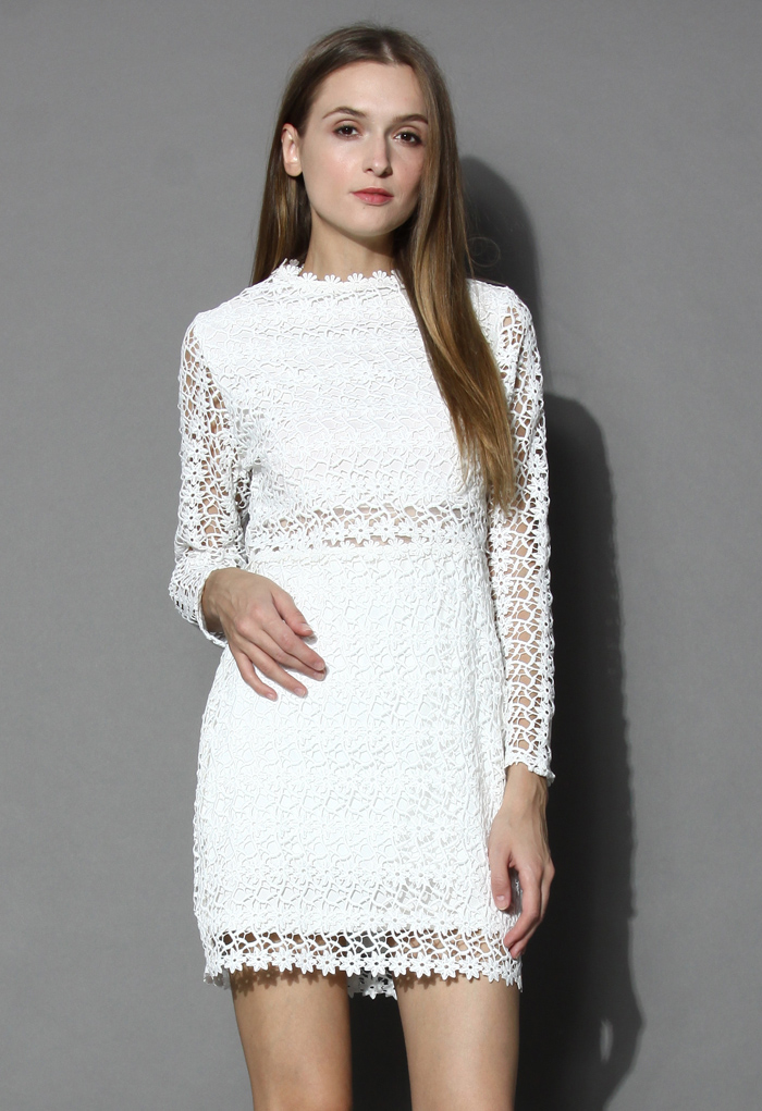 Little Daisy Crochet Shift Dress in White - Retro, Indie and Unique Fashion