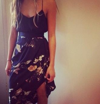 skirt black floral asymmetrical skirt