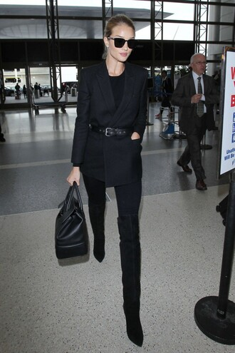 jacket boots fall outfits all black everything rosie huntington-whiteley purse leggings top sweater jeans shoes airport fashion
