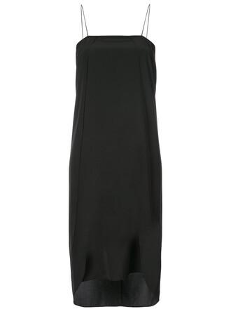 dress shift dress women classic black silk
