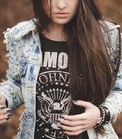t-shirt,jeans,jacket,studs,black t-shirt,denim jacket,ombre bleach dye,dip dyed,jewels