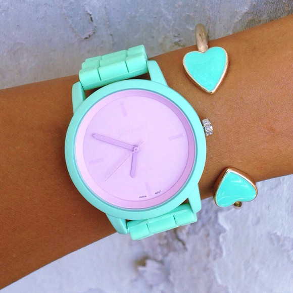 cute mint teal jewels violet purple minimalist silicone watch heart bangles cuffs