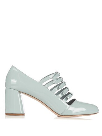 high pumps leather silver blue shoes