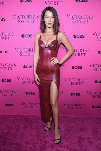 dress slit dress slit bustier bustier dress bella hadid model gown victoria's secret victoria's secret model animal print leather burgundy
