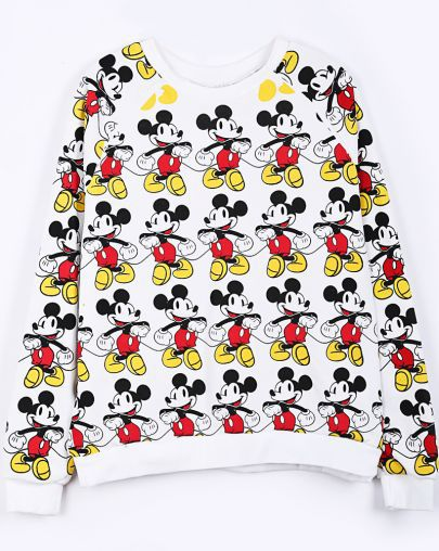 Free Shipping! 2013 New Autumn Fashion Sweatshirt Women Hot Top White Reglan Sleeve Overlay Mickey Mouse Print Sweatshirt-in Hoodies & Sweatshirts from Apparel & Accessories on Aliexpress.com