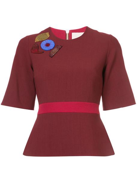 Roksanda top peplum top women spandex embellished silk red