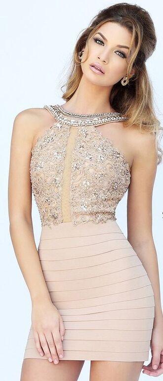 dress bandage dress sexy dress mini dress pale pink dress embellished dress
