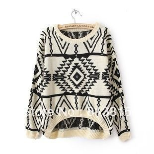 2013 Celebrity Style Aztec & Tribal Print Women Chunky Sweater Jumper Pullover SW17* on Aliexpress.com