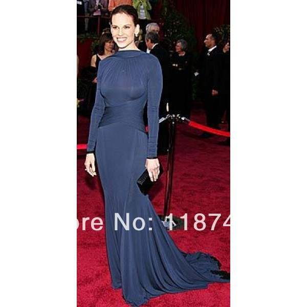Aliexpress.com : Buy Hilary Swank Open Back Evening Dresses at 2005 Oscar Awards Red Carpet Formal Ball Gowns Party Skirts High end Custom from Reliable dress necklines suppliers on Prom Dresses Online Shop!