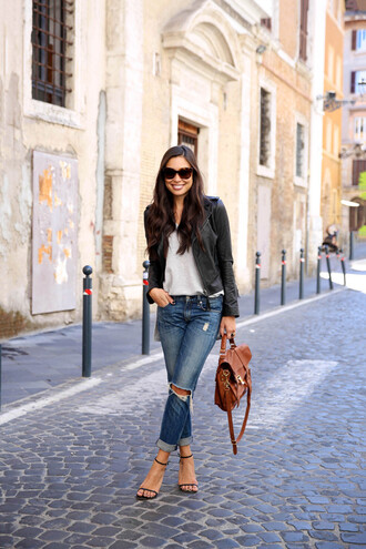 with love from kat blogger jeans jacket sweater shoes bag
