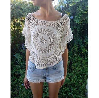 shirt lace top blouse clothes gorgeous women crochet crop top crochet see through shorts summer outfits festival spring break hipster fashionista style trendy stylish boho cute girly boho chic boho shirt indie indie boho summer tumblr girl cool denim blogger streetstyle streetwear beach instagram pretty knitwear beautiful coachella white on point clothing