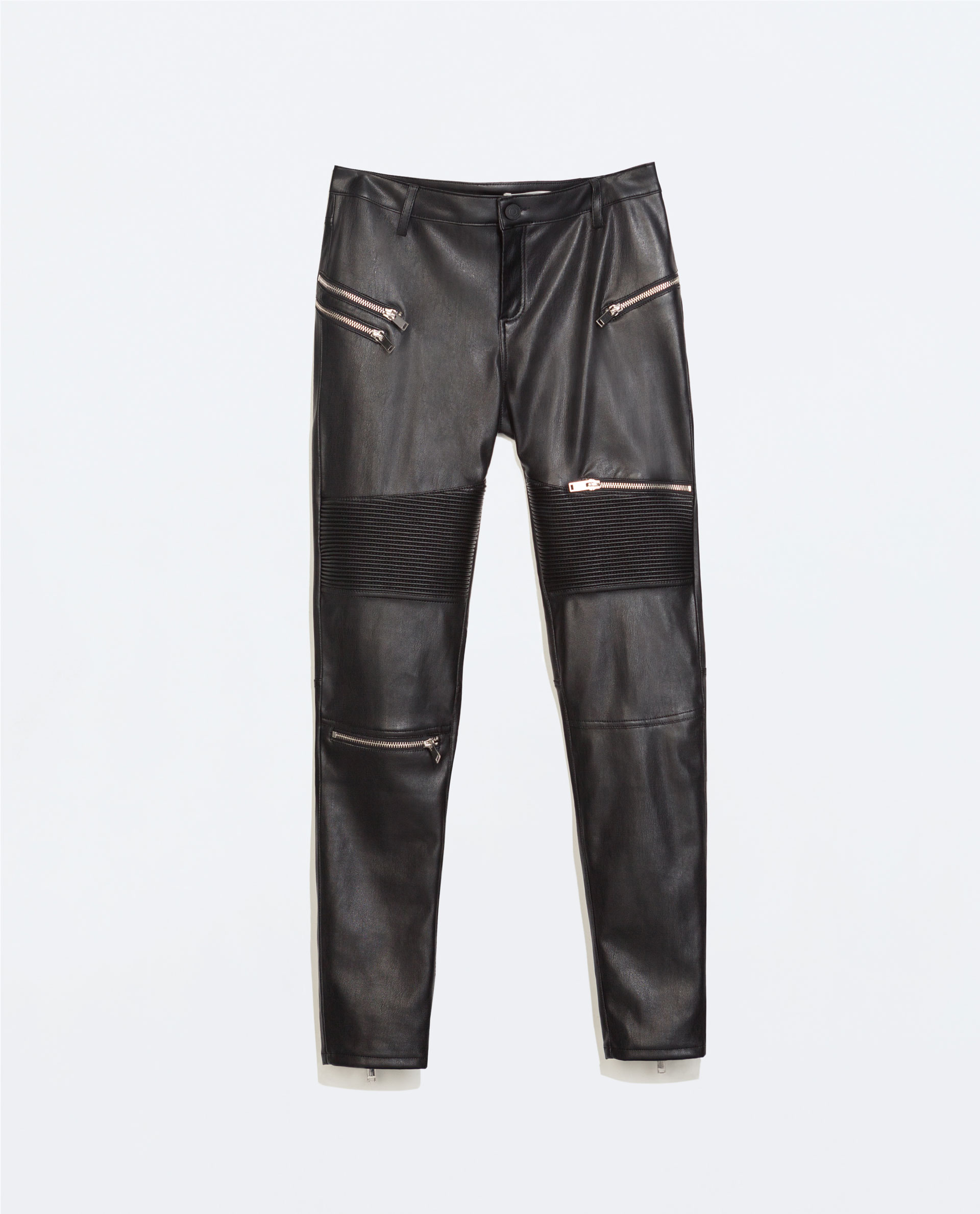 FAUX LEATHER BIKER TROUSERS WITH ZIPS - Trousers