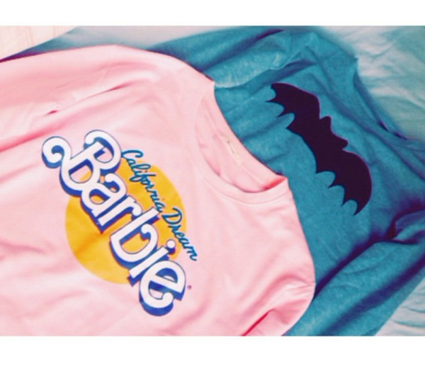 sweater barbie batman california dream pink blue