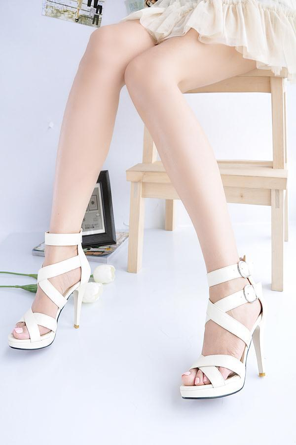 2013 platform high heel sandals women fashion Ankle strap cross pumps summer sexy sandals peep toe heel sandal shoes red sole-in Sandals from Shoes on Aliexpress.com