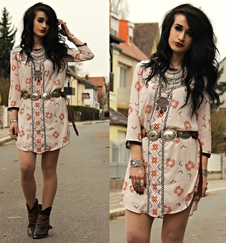 dress folk print fuzzy trim tunic dress print pattern boho gypsy fashion style outfit