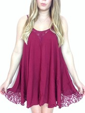 dress,burgundy dress,lace dress,spaghetti straps dress