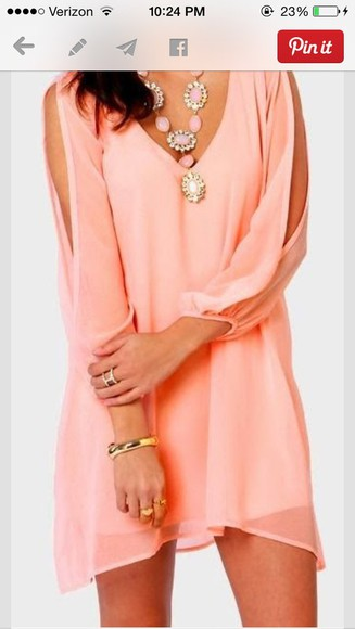 chiffon orange coral cut sleeves