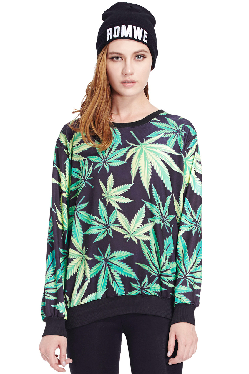 ROMWE | Hemp Leaves Print Sweatshirt, The Latest Street Fashion