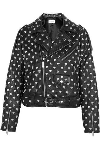 jacket biker jacket studded leather black