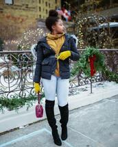 gloves,tumblr,jacket,black jacket,down jacket,sweater,turtleneck,turtleneck sweater,mustard sweater,mustard,denim,jeans,boots,black boots