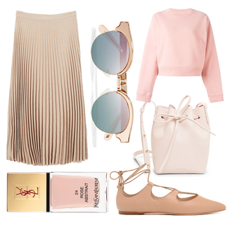 jane's sneak peak blogger sunglasses pink bag pink skirt pleated skirt pink sweater flats ballet flats pink shoes nail polish yves saint laurent shoes