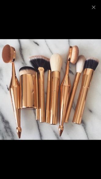 make-up makeup brushes gold