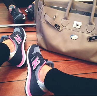 mac dou mac douglas shoes new balance new balance sneakers sneakers sports shoes pink grey bag beige creme beige bag leather bag leather