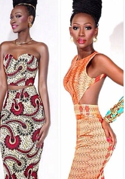 dress aztec actec dress orange dress red dress two-piece bodycon dress bodycon skirt