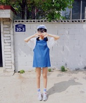 dress,cowboy dress,denim dress,pinafore dress,pinafore,denim pinafore,cute dress,casual dress,white dress,blue dress,lovely dress,lovely,swag